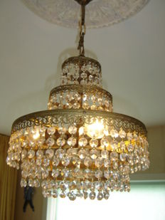 Chandelier five-tier brass and Swarovski crystals - 60 years