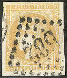 France 1871 - Bordeaux, report 2, 10 c lemon-yellow, signed Roumet and Calves with certificate – Maury n° 43IIe