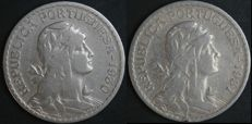 Portugal – Pair of 1 Escudo coins – 1930 & 1931 – Portuguese Republic – Lisbon – AG: 25.04 & 25.05 –  Rare and with No Reserve Price