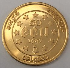 Belgium - 50 Ecu 1987 '30th anniversary of the Roman treaties' - ½ oz gold