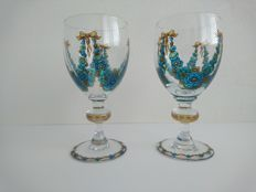 Set of two enamel painted Art Nouveau crystal glasses