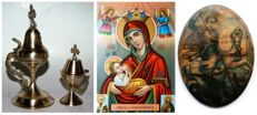 Two antique bronze burners, a small tin icon and an Orthodox Religious litho icon Virgin Mary Madonna with Jesus Christ