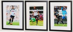 3 (!!!) original autographed photos of: Christian Eriksen, Harry Kane and Dele Alli - Deluxe Framed + Certificates of Authenticity