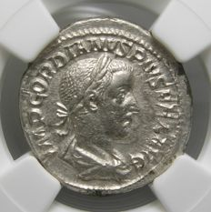 Roman Empire - Gordian III AR Denarius, Apollo, 241 AD - Certified NGC