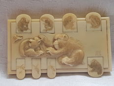 Ivory japanese Wist game counter - Japan - ca. 1900 (Late Meiji period)