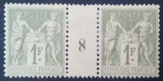 France 1883 – Sage type II, 1 Franc light olive, date pair 8 – Yvert no. 82.