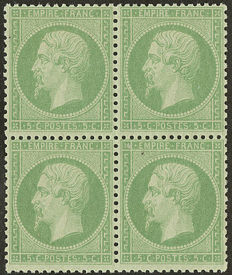 France 1862 - Napoleon III, perforated, 5c., green, block of 4, signed Roumet with certificate - Yvert no. 20