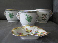 4 x Herend porcelain - 3 jars and one dish