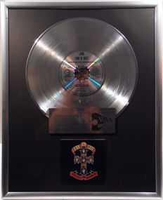 """Guns N' Roses - Appetit for Destruction -  12"""" Geffen Music platinum plated record with CD and cover by WWA gold Awards"""