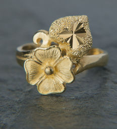 965 / 23K Gold Floral Unique Work Ladys Ring RS 55 / 17,5mm ∅ / US 7,5