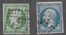 France 1850 - 5c green and 25c blue cancelled - Yvert no. 12 and 15