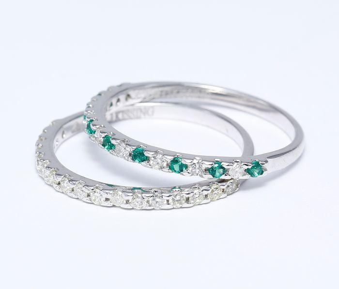 Set of 2 Diamond and Emerald band rings 14kt gold - 54 (EU) - no reserve price