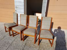 Four Art Deco chairs in solid light oak