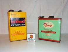 Sonap, Lockheed, Shell - 3 Vintage Cans - good condition