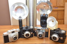 Four Agfa cameras, twice the Clack, the Silette and Silette LK with 3 flash units