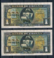 Spain - 2 x 1 Pesetas 1940 - Pick 122a - Correlative pair