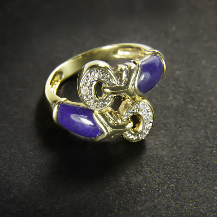 18 kt yellow gold ring set with 6 diamonds and 2 lapis lazuli - diameter: approx. 17.2 mm