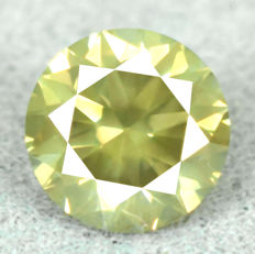 Diamond - 0.48ct, VS2 Natural Fancy Vivid Greenish Yellow – EXC/VG/VG – NO RESERVE PRICE