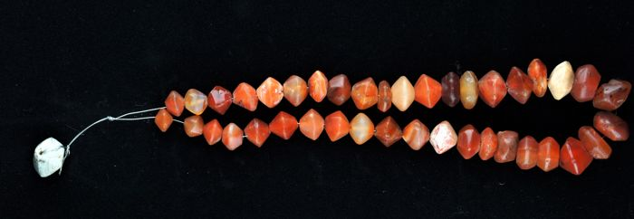 Ancient red Carnelian faceted beads - 46 cm