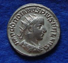 Roman Empire - Silver Antoninianus of Gordian III, the child emperor (238-244 A.D.), struck in Rome, reverse Apollo! (P688)