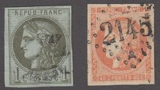 France 1870 - 40c orange and 1c olive - Yvert no. 48, 39