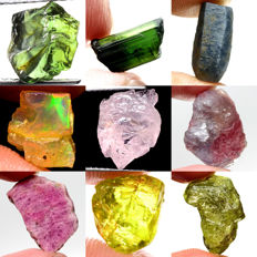 Lot of Sapphire, Tourmaline, Opal, Morganite, Ruby, Garnet and Sphene - 84.33 ct (9)