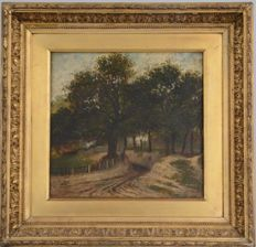 Landscape oil painting on panel 19th Century English School