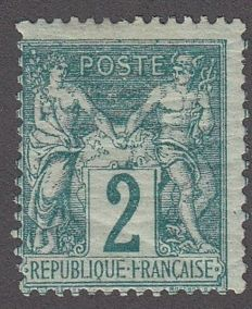 France 1870 - 2c green, MNH - Yvert no. 62