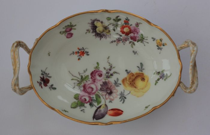KPM Berlin Porcelain two-handled dish, richly coloured floral decoration and gilt rim