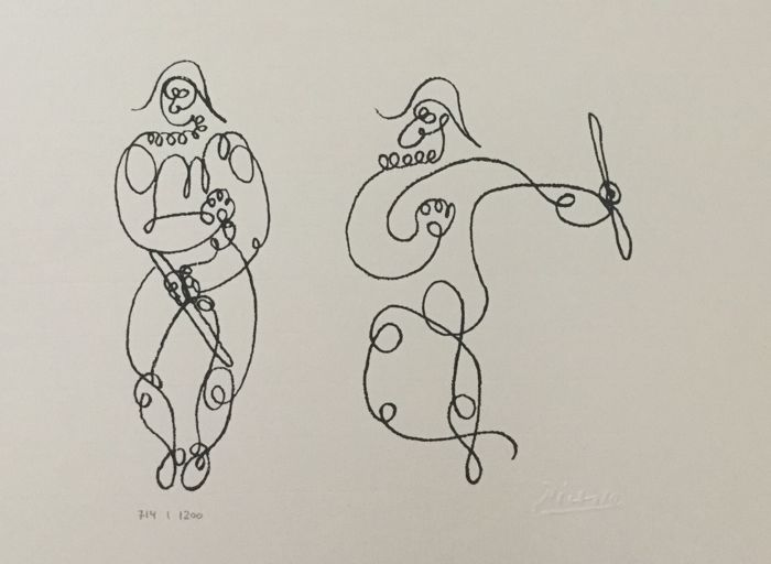 Line Art By Picasso : Pablo picasso after arlequins one line