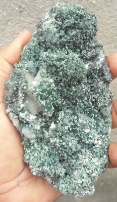 Nice Green Celadonite included Stilbite crystals on Chalcidony Specimen - 12.5 x 8cm - 405g