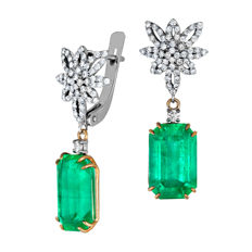9.36 ct. Rare Russian Ural Vivid Green Emerald Gold Earrings With Diamonds.