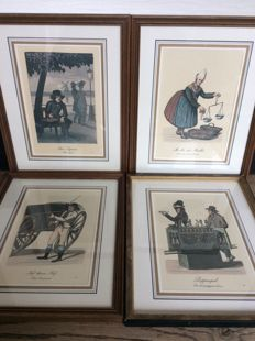 4 prints by C. Suhr - Various depictions - early 19th century