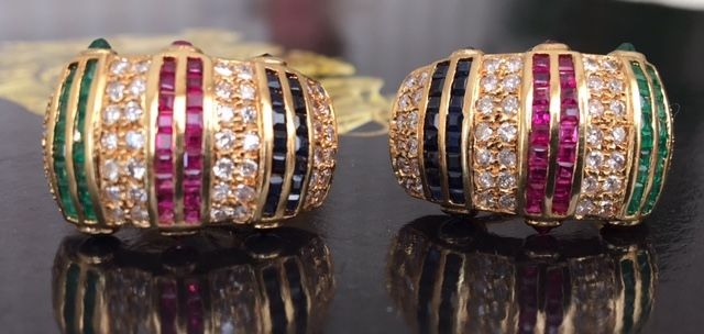 18 kt yellow gold entourage earrings with approx. 2.50 ct of diamonds and precious stones in total - size 2.2 cm * 1.3 cm