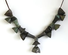 La Tène period, Necklace bronze Beads & bells - 240 mm.