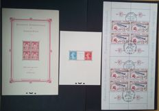 France 1925-1964 - 3 souvenir sheets, Paris, Strasbourg and Philatec exhibitions - Yvert n° 1, 2, and 6