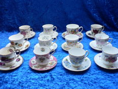 Lot of 12 cups and saucers with floral decoration - including H. Aynsel, Elizabethan, Royal Grafton