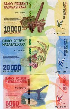 Madagascar - 100, 200, 500, 1000, 2000, 5000, 10000 and 20000 Ariary (2017) - Pick New Complete set