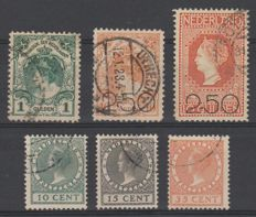 The Netherlands 1920/1924 – Coronation guilder, Clearance sale and Exhibition – NVPH 49, 104/105, 136/138