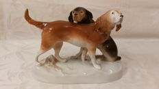 Large Porcelain Hunting Dogs of the Brand.. Royal Dux, Bohemia