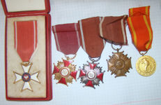 Order of Polonia Restituta + 3 Crosses of Merit (gold, silver, bronze) + Medal for the liberation of Warsaw + box