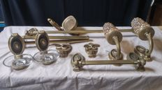 Lot with antique brass/ bronze bathroom objects