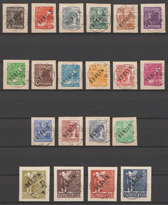 Berlin 1948 - black overprint on letter parts - Michel 1/20