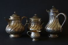Antique Odiot a Paris French Silver Four Piece Tea and Coffee Set, 19th century
