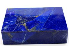 Hand-crafted Royal Blue Lapis Lazuli and Marble Jewellery Box - 152 x 112 x 42 mm - 890 gm