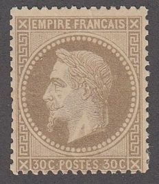 France 1860 - 30c brown - Yvert no. 30