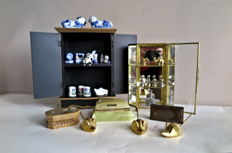Two Display/Table Cabinets and 3 Decorative Boxes with Variation Collection of 21 Small Ornaments