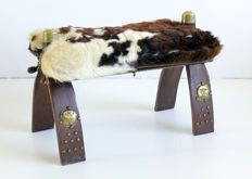Camel Saddle with Cow Hide - Hard wood, leather, brass
