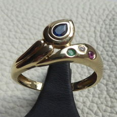 Gold ring 14 kt with sapphire, diamond, ruby and emerald