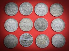 France – 2 Francs 1898/1916 'Semeuse' (lot of 12 coins) – Silver.
